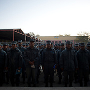 November 14, 2012 - Kabul, Afghanistan: Afghan National Police (ANP) cadets line up waiting for their turn to enter the canteen for breakfast at the Afghan Nacional Police Academy...ANP Academy trains 1250 cadets at the time during a period of four years. Every year, five hundred new recruits are selected, out of more than nine thousand of candidates, to join the academy and other five hundred graduate. Fifteen per cent of the recruits are women. (Paulo Nunes dos Santos)