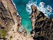 Aerial photograph looking straight down at Halona Cove, Southeast Oahu Coast, Hawaii