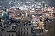 Westward views from Letna Park to the district of Hradcany and the Charles Bridge on the Vltava river where the EU flag flies over a government building, on 18th March, 2018, in Prague, the Czech Republic. Like Rome, Prague is built on seven hills.