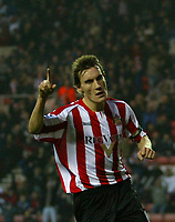 Photo: Andrew Unwin.<br />Sunderland v Northwich Victoria. The FA Cup. 08/01/2006.<br />Sunderland's Dean Whitehead celebrates scoring his team's second goal.
