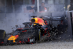 February 19, 2019 - Barcelona, Catalonia, Spain - Pierre Gasly of France driving the (10) Aston Martin Red Bull Racing RB15 crashes during day two of F1 Winter Testing at Circuit de Catalunya on February 19, 2019 in Montmelo, Spain. (Credit Image: © Jose Breton/NurPhoto via ZUMA Press)