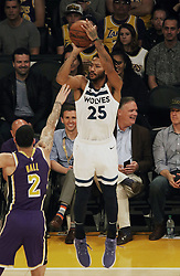 November 7, 2018 - Los Angeles, California, U.S - Derrick Rose #25 of the Minneapolis Timberwolves puts up a shot during their NBA game with the Los Angeles Lakers on Wednesday November 7, 2018 at the Staples Center in Los Angeles, California. Lakers defeat Timberwolves, 114-110. (Credit Image: © Prensa Internacional via ZUMA Wire)