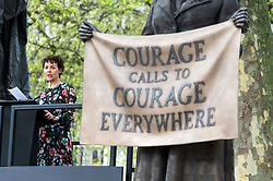 © Licensed to London News Pictures. 24/04/2018. London, UK. © Licensed to London News Pictures. 24/04/2018. London, UK.  Actress HELEN MCCRORY makes a speech at the statue unveiling of the Suffragist leader Millicent Fawcett in Parliament Square. The Mayor of London commissioned Turner prize-winning artist GILLIAN WEARING OBE to create the statue. Photo credit: Ray Tang/LNP