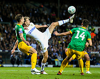 Leeds United's Patrick Bamford vies for possession with Preston North End's Jordan Storey and Ben Davies<br /> <br /> Photographer Alex Dodd/CameraSport<br /> <br /> The Carabao Cup Second Round - Leeds United v Preston North End - Tuesday 28 August 2018 - Elland Road - Leeds<br />  <br /> World Copyright © 2018 CameraSport. All rights reserved. 43 Linden Ave. Countesthorpe. Leicester. England. LE8 5PG - Tel: +44 (0) 116 277 4147 - admin@camerasport.com - www.camerasport.com