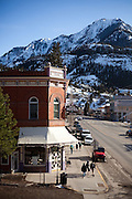 View down the main street of Ouray, Colorado from the Ouray Brewery rooftop terrace.