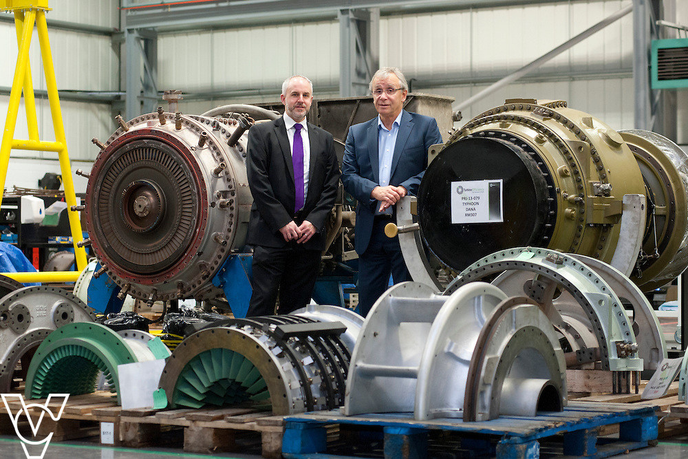 Yorkshire Bank's business development manager David Burgess, left, and Turbine Efficiency's CEO Alan Hawkins  pictured at Turbine Efficiency's premises in Witham St Hughs, Lincolnshire.<br /> <br /> Date: November 27, 2014