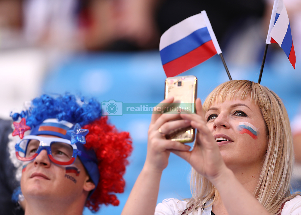 SAMARA, June 17, 2018  Fans of Russia are seen before a group E match between Costa Rica and Serbia at the 2018 FIFA World Cup in Samara, Russia, June 17, 2018. (Credit Image: © Fei Maohua/Xinhua via ZUMA Wire)