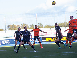 Dundee United's Craig Curran scoring their second goal. Falkirk 0 v 2 Dundee United, Scottish Championship game played 22/9/2018 at The Falkirk Stadium.