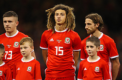 October 11, 2018 - Cardiff City, Walles, United Kingdom - Cardiff, Wales October 11, ..Ethan Ampadu of Wales (C) during Exhibition Match between Wales and Spain at Principality stadium, Cardiff City, on 11 Oct  2018. (Credit Image: © Action Foto Sport/NurPhoto via ZUMA Press)