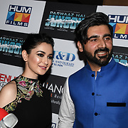 "Hania Amir and Yasir Abbas attend Photocall in London Premiere of ""Parwaaz Hai Junoon"" (Soaring Passion) as featured on SKY, ITV at The May Fair Hotel, Stratton Street, London, UK. 22 August 2018."