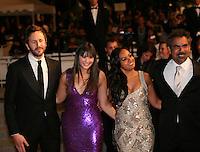 Chris O'Dowd, Shari Sebbens, Jessica Mauboy, director Wayne Blair, attending the gala screening of The Sapphires at the 65th Cannes Film Festival. Saturday 19th May 2012 in Cannes Film Festival, France.