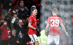 Manchester United's Nemanja Matic celebrates scoring his side's first goal of the game during the Emirates FA Cup, quarter final match at Old Trafford, Manchester.