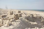 A sand castle that dodged a beach comber's tires, Nauset Beach, Cape Cod National Seashore, Orleans, Massachusetts.