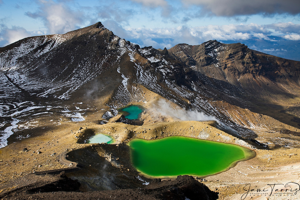 New Zealand's most famous hiking trail,Tongariro Crossing, is a 16Km hike that traverses mountains passing a trio of active volcanoes, craters, and brilliantly colored lakes,  North Island, New Zealand