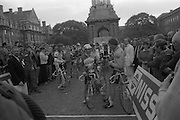 Nissan International Cycle Race..1986..01.10.1986..10.01.1986..1st October 1986..The Nissan Classic began today from Trinity College,Dublin. The offical race starter was The Taoiseach,Dr Garrett FitzGerald TD. He was accompanied by the Minister for Sport,Mr Sean Barrett TD..Sean Kelly was returning to defend his title but his opposition included Greg LeMond, the 1983 world champion and the winner of the Tour de France of the previous July. Roche was out due to his injured leg. Adri van der Poel was back with 1980 Tour de France winner and 1985 world champion Joop Zoetemelk. Teun van Vliet was back too. The winner of the green jersey of the Tour de France that July, Eric Vanderaerden was there as well as Australians Phil Anderson and Alan Peiper as well the Scottish cyclist Robert Millar...The cyclists prepare to start the first stage of the five day,round Ireland,Nissan Classic Cycle Race.