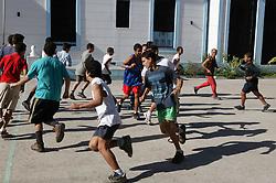 PE lesson at Carlos J Finlay secondary school; Havana; Cuba,