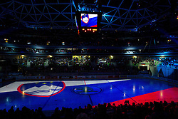 Opening ceremony prior to the ice-hockey match bewteen Great Britain and Slovenia at IIHF World Championship DIV. I Group A Slovenia 2012, on April 15, 2012 in Arena Stozice, Ljubljana, Slovenia. (Photo by Vid Ponikvar / Sportida.com)