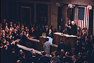 Washington, DC 1985/02/06  President Ronald Reagan at the State of the Union addess .<br /><br /><br />Photo by Dennis Brack