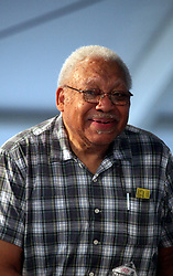 05 May 2012. New Orleans, Louisiana,  USA. <br /> New Orleans Jazz and Heritage Festival. JazzFest.<br /> Legendary Jazz pianist Ellis Marsalis plays the Jazz tent.<br /> Ellis Marsalis passed away April 1st 2020 of complications associated with Coronavirus - COVID-19.<br /> Photo ©; Charlie Varley/varleypix.com