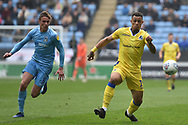 Bristol Rovers forward Johnson Clarke-Harris (19) battles for possession  with Coventry City defender Tom Davies  (5)during the EFL Sky Bet League 1 match between Coventry City and Bristol Rovers at the Ricoh Arena, Coventry, England on 7 April 2019.