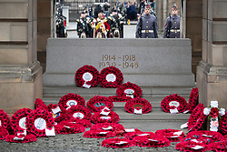 Poppy wreaths laid at the Stone of Remembrance at the City Chambers, Edinburgh, on the 100th anniversary of the signing of the Armistice which marked the end of the First World War.