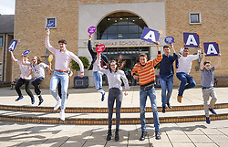 © Licensed to London News Pictures. 10/08/2021.Leeds,UK. Jake Master, Ayushman Nath, Ben Wheatcroft, Oliver Daniels, Nicky Davis, Edith Brightwell, Thomas Ingleby, James Hardy, Chamequa Rankine, celebrate their Α level results at The Grammar School at Leeds. Photo credit: Ioannis Alexopoulos/LNP