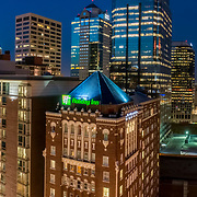 Kansas City, Missouri downtown highrises aerial view from 13th and Central Streets