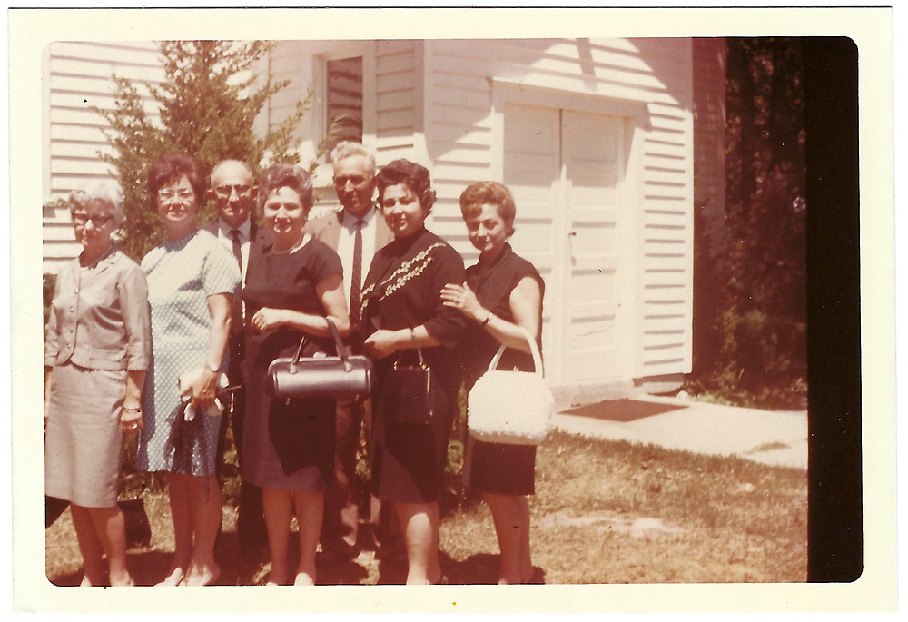 """""""outside St. Valentine's church in North Bend (R.R. Ohlong), Ill. after Momi funeral July 1966, all 7 children, R to L: Gladys, Frida, Bernard, Gertrude, Raymond, Dolores, Loretta"""""""