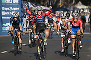 Kimberley Le Court De Billot of team Demacon wins the ladies 2018 Cape Town Cycle Tour. Image by Greg Beadle