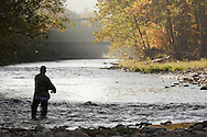 Cuddebackville, N.Y. - A man wearing waders fishes in the Neversink River on Oct. 8, 2006. The Route 209 bridge is in the background. ©Tom Bushey