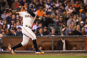 San Francisco Giants center fielder Denard Span (2) swings at a pitch against the Colorado Rockies at AT&T Park in San Francisco, Calif., on September 27, 2016. (Stan Olszewski/Special to S.F. Examiner)