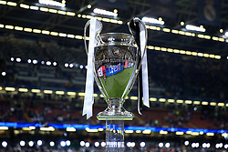 3rd June 2017 - UEFA Champions League Final - Juventus v Real Madrid - The trophy is displayed on a plinth before the match - Photo: Simon Stacpoole / Offside.
