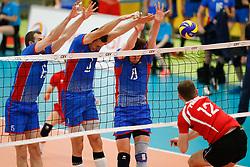 20170525 NED: 2018 FIVB Volleyball World Championship qualification, Koog aan de Zaan<br />Juraj Zatko (15), Emanuel Kohut (3), Stefan Jr Chrtiansky (13) of Slovakia <br />©2017-FotoHoogendoorn.nl / Pim Waslander
