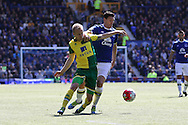 Steven Naismith of Norwich City gets in front of Gareth Barry of Everton. Barclays Premier League match, Everton v Norwich City at Goodison Park in Liverpool on Sunday 15th May 2016.<br /> pic by Chris Stading, Andrew Orchard sports photography.