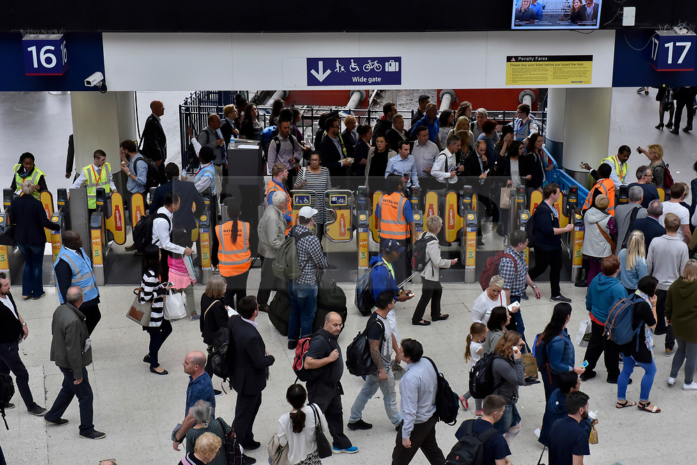 © Licensed to London News Pictures. 07/08/2017. London, UK. Rail passengers face disruption at Waterloo station where nearly half the platforms have been closed until August 28 for a station upgrade.  Photo credit : Stephen Chung/LNP