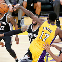 19 February 2016: Los Angeles Lakers center Roy Hibbert (17) passes the ball to Los Angeles Lakers forward Kobe Bryant (24) during the San Antonio Spurs 119-113 victory over the Los Angeles Lakers, at the Staples Center, Los Angeles, California, USA.