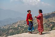 Elected Member, Laxmi Tamang, and President of the Shree Khanideri Sanokishan Krishi Sanakari Women's Co-operative, Nirmala Tamang, in conversation, Kakani, Nuwakot District, Nepal