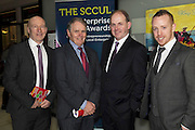 Liam Bluett. SCCUL , Colman Collins Collins McNicholas  Frank Ryan Chairman IDA and Michael Smith Ballybane Enterprise Centre at the annual SCCUL Enterprise Awards prize giving ceremony and business expo which was hosted by NUI Galway in the Bailey Allen Hall, NUIG. Photo:Andrew Downes