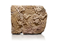 Hittite relief sculpted orthostat stone panel of Long Wall Limestone, Karkamıs, (Kargamıs), Carchemish (Karkemish), 900-700 B.C. . Anatolian Civilisations Museum, Ankara, Turkey.<br /> <br /> Two helmeted soldiers in short skirt carry shield on their backs and spear in their hands.<br /> <br /> On a White Background. .<br />  <br /> If you prefer to buy from our ALAMY STOCK LIBRARY page at https://www.alamy.com/portfolio/paul-williams-funkystock/hittite-art-antiquities.html  - Type  Karkamıs in LOWER SEARCH WITHIN GALLERY box. Refine search by adding background colour, place, museum etc.<br /> <br /> Visit our HITTITE PHOTO COLLECTIONS for more photos to download or buy as wall art prints https://funkystock.photoshelter.com/gallery-collection/The-Hittites-Art-Artefacts-Antiquities-Historic-Sites-Pictures-Images-of/C0000NUBSMhSc3Oo