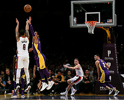 December 23, 2017 - Los Angeles, California, U.S. - Portland Trail Blazers guard Shabazz Napier (6) shoots a three point against the Los Angeles Lakers in the second half of a NBA Basketball game at Staples Center on Saturday, Dec. 23, 2017 in Los Angeles. Portland Trail Blazers won 95-92. (Credit Image: © Keith Birmingham/SCNG via ZUMA Wire)
