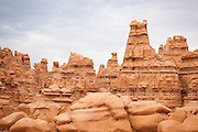 Detail of tall hoodoos at Goblin Valley State Park, Utah.