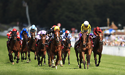 Stradivarius ridden by jockey Andrea Atzeni (centre left) on the way to winning the Qatar Goodwood Cup Stakes during day one of the Qatar Goodwood Festival at Goodwood Racecourse. PRESS ASSOCIATION Photo. Picture date: Tuesday August 1, 2017. See PA story RACING Goodwood. Photo credit should read: John Walton/PA Wire