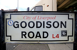 "A general view of street signage outside the grounds prior to the Premier League match at Goodison Park, Liverpool. PRESS ASSOCIATION Photo. Picture date: Saturday August 18, 2018. See PA story SOCCER Everton. Photo credit should read: Peter Byrne/PA Wire. RESTRICTIONS: EDITORIAL USE ONLY No use with unauthorised audio, video, data, fixture lists, club/league logos or ""live"" services. Online in-match use limited to 120 images, no video emulation. No use in betting, games or single club/league/player publications."