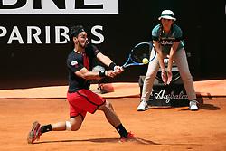 May 18, 2018 - Rome, Rome, Italy - 18th May 2018, Foro Italico, Rome, Italy; Italian Open Tennis; Fabio Fognini (ITA) in action during a quarter-final match lost 4-6, 6-1, 6-2 against Rafael Nadal (ESP). Credit: Giampiero Sposito/Pacific Press (Credit Image: © Giampiero Sposito/Pacific Press via ZUMA Wire)