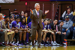 Feb 18, 2019; Morgantown, WV, USA; Kansas State Wildcats head coach Bruce Weber reacts during the first half against the West Virginia Mountaineers at WVU Coliseum. Mandatory Credit: Ben Queen-USA TODAY Sports