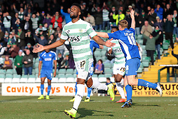 Yeovil Town's Joel Grant celebrates his sides goal  - Photo mandatory by-line: Harry Trump/JMP - Mobile: 07966 386802 - 07/03/15 - SPORT - Football - Sky Bet League One - Yeovil Town v Oldham Athletic - Huish Park, Yeovil, England.