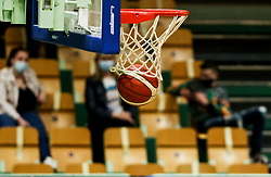 Ball in a basket during friendly basketball match between Women National Teams of Slovenia and Montenegro, on May 21, 2021 in Arena Tri Lilije, Lasko, Slovenia. Photo by Vid Ponikvar / Sportida