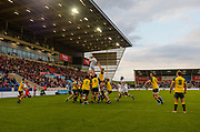 England flanker George Nott collects a line-out throw during the World Rugby U20 Championship  match England U20 -V- Australia U20 at The AJ Bell Stadium, Salford, Greater Manchester, England on June  15  2016, (Steve Flynn/Image of Sport)