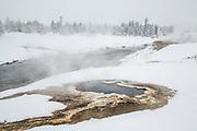 Hot spring in the Upper Geyser Basin during winter
