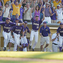 06 June 2009: The LSU bench reacts to the final out during a 5-3 victory by the LSU Tigers over the Rice Owls in game two of the NCAA baseball College World Series, Super Regional played at Alex Box Stadium in Baton Rouge, Louisiana. The Tigers with the win advance to next week's College Baseball World Series in Omaha, Nebraska.